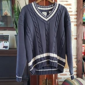 Gap Varsity Cable Knit Vintage Sweater